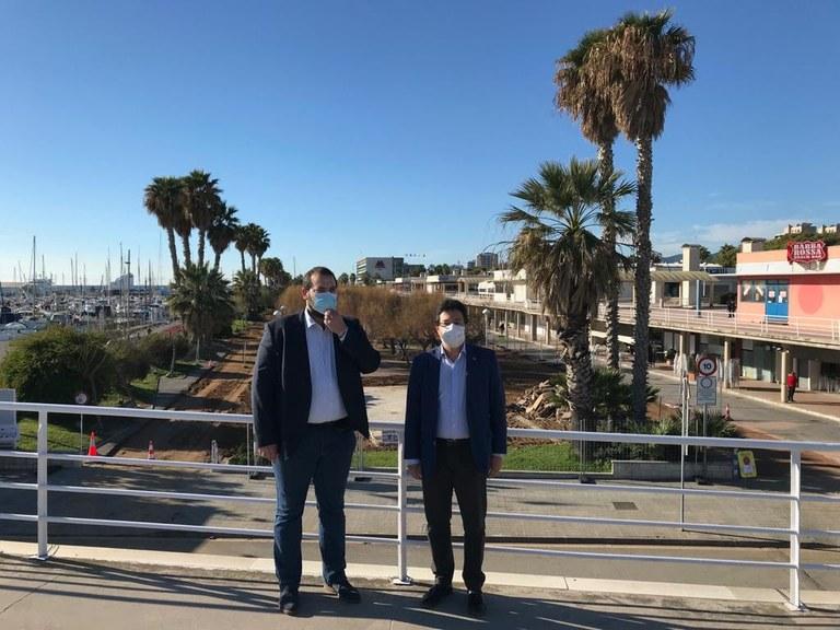 L'alcalde, David Bote, i el secretari d'Infraestructures i Mobilitat i president del Port de Mataró, Isidre Gavín. Foto: Ajuntament Mataró